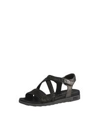 schwarze flache Sandalen aus Segeltuch von s.Oliver