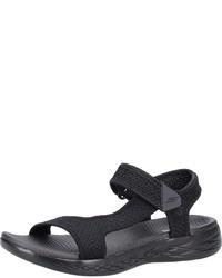 schwarze flache Sandalen aus Segeltuch von Skechers