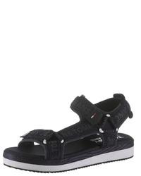 schwarze flache Sandalen aus Segeltuch von Tommy Jeans