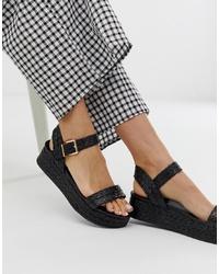 schwarze flache Sandalen aus Stroh von New Look