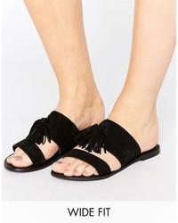 schwarze flache Sandalen aus Wildleder von Asos