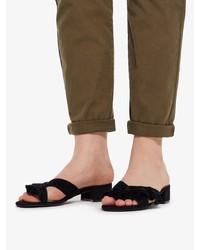 schwarze flache Sandalen aus Wildleder von Bianco