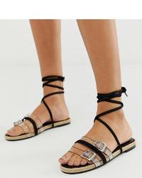 schwarze flache Sandalen aus Wildleder von Boohoo