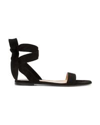 schwarze flache Sandalen aus Wildleder von Gianvito Rossi