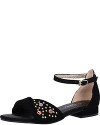 schwarze flache Sandalen aus Wildleder von Lola Ramona