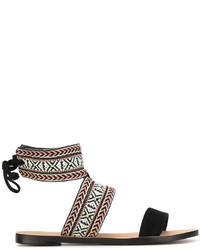 schwarze flache Sandalen aus Wildleder von Rebecca Minkoff