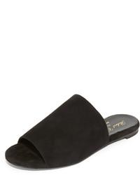 Schwarze Flache Sandalen aus Wildleder von Robert Clergerie
