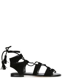 schwarze flache Sandalen aus Wildleder von Stuart Weitzman