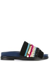 schwarze flache Sandalen aus Wildleder von Tory Burch