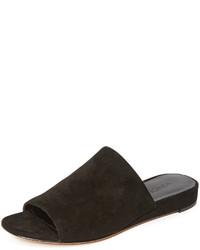 schwarze flache Sandalen aus Wildleder von Vince