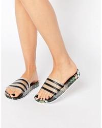 schwarze flache Sandalen von adidas