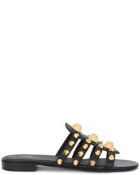 schwarze flache Sandalen von Balenciaga