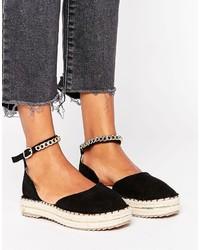 schwarze flache Sandalen von Missguided
