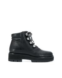 schwarze flache Stiefel mit einer Schnürung aus Leder von 3.1 Phillip Lim