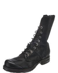 schwarze flache Stiefel mit einer Schnürung aus Leder von A.S.98