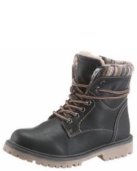 schwarze flache Stiefel mit einer Schnürung aus Leder von Arizona