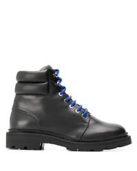 schwarze flache Stiefel mit einer Schnürung aus Leder von Bally