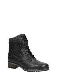 schwarze flache Stiefel mit einer Schnürung aus Leder von Bama