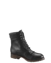 schwarze flache Stiefel mit einer Schnürung aus Leder von Eddie Bauer
