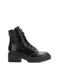 schwarze flache Stiefel mit einer Schnürung aus Leder von Kenzo