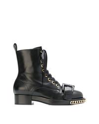 schwarze flache Stiefel mit einer Schnürung aus Leder von N°21