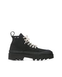 schwarze flache Stiefel mit einer Schnürung aus Leder von Proenza Schouler