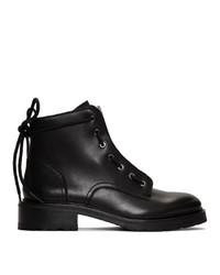 schwarze flache Stiefel mit einer Schnürung aus Leder von Rag and Bone