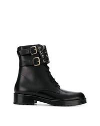 schwarze flache Stiefel mit einer Schnürung aus Leder von RED Valentino