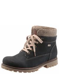 schwarze flache Stiefel mit einer Schnürung aus Leder von Remonte