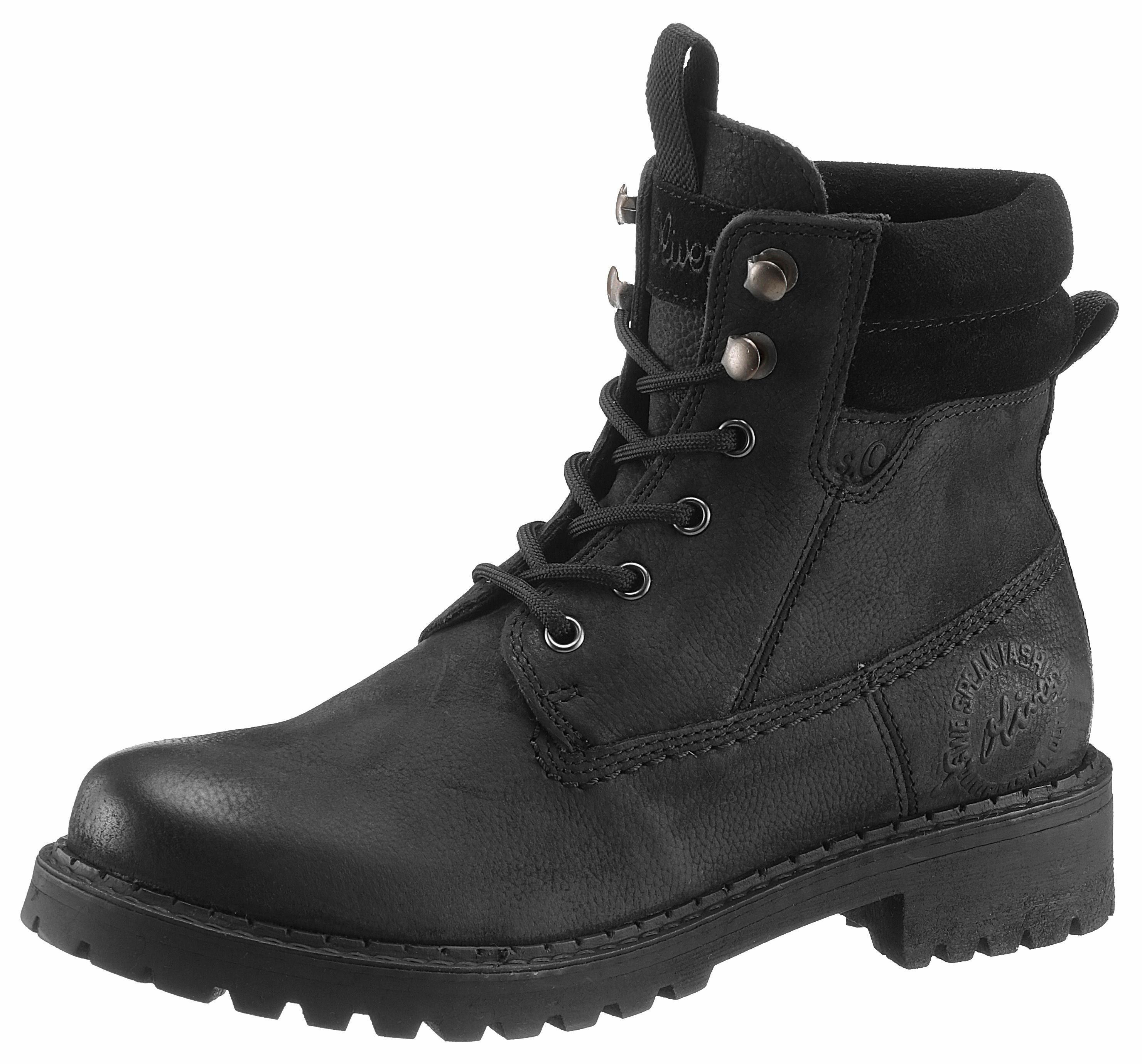 buy online ccf30 70990 €49, schwarze flache Stiefel mit einer Schnürung aus Leder von S.OLIVER RED  LABEL