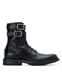 schwarze flache Stiefel mit einer Schnürung aus Leder von Saint Laurent