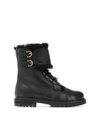 schwarze flache Stiefel mit einer Schnürung aus Leder von Salvatore Ferragamo