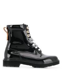 schwarze flache Stiefel mit einer Schnürung aus Leder von See by Chloe