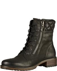 schwarze flache Stiefel mit einer Schnürung aus Leder von SPM