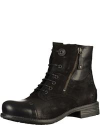 schwarze flache Stiefel mit einer Schnürung aus Wildleder von Marco Tozzi