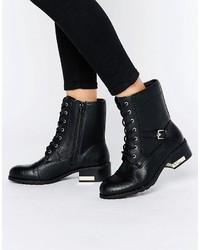 Schwarze Flache Stiefel mit Schnürung aus Leder von Call it SPRING