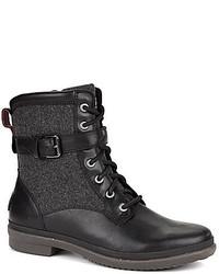 Schwarze Flache Stiefel mit Schnürung aus Leder von UGG