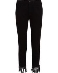 schwarze Fransen Jeans