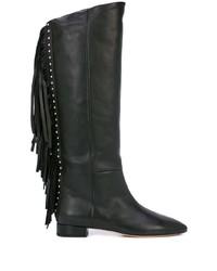 schwarze kniehohe Stiefel aus Leder mit Fransen von Saint Laurent