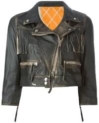 schwarze Leder Bikerjacke mit Fransen von S.W.O.R.D.