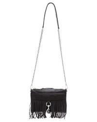 schwarze Fransen Leder Clutch von Rebecca Minkoff