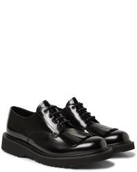 schwarze Leder Derby Schuhe mit Fransen