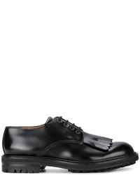 schwarze Leder Derby Schuhe mit Fransen von Alexander McQueen