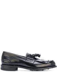 schwarze Leder Derby Schuhe mit Fransen von Church's