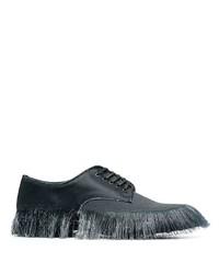 schwarze Leder Derby Schuhe mit Fransen von Doublet