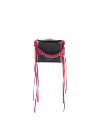 schwarze Fransen Leder Umhängetasche von Alexander McQueen