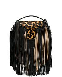 schwarze Fransen Leder Umhängetasche von Andrea Bogosian