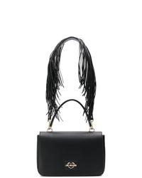 schwarze Fransen Leder Umhängetasche von Love Moschino