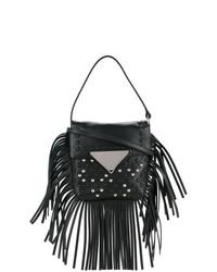 schwarze Fransen Leder Umhängetasche von Sara Battaglia