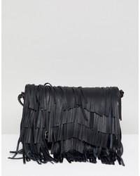 schwarze Fransen Leder Umhängetasche von Urbancode